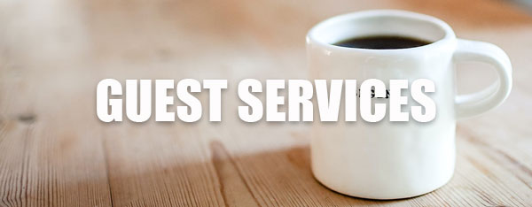 Guest Services Title with Coffee